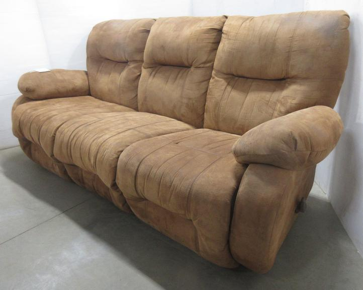 Saddle Brown 3X Recliner Couch, Matches Lot No. 10
