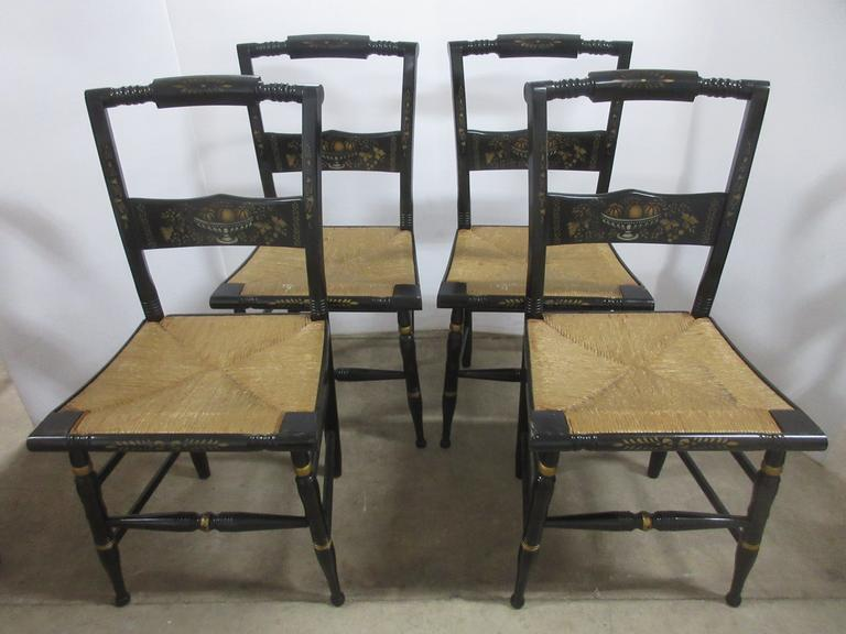 (4) Antique Genuine Hitchcock Accent Chairs, Fruit Stencil and Hand Woven Rush Seats, Have 1940s Graphics