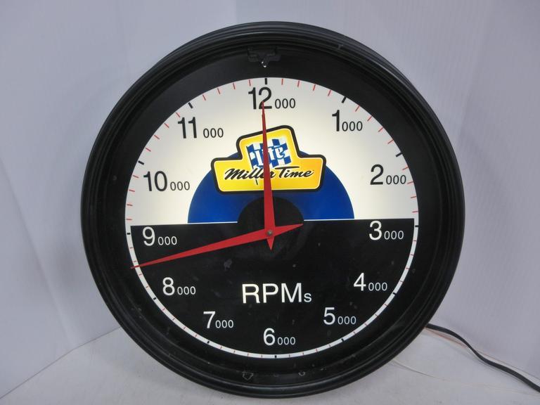 Albrecht Auctions | Miller Time Lighted Clock, Racing Theme