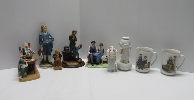 (9) Norman Rockwell and Precious Moments Figurines, Collectable