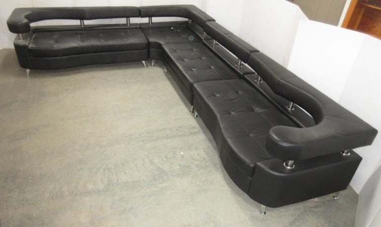 Four-Piece Modern Sectional, Imitation Leather, For Reception Room, Matches Lot No. 49
