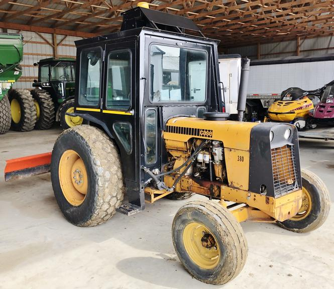 Case 380-B Diesel Tractor with Full Cab, 50 HP, Live Power, Power Steering, Hydraulics, New Injection Pump, Power Steering Cylinder, Comes with Service Manual, Used for Blading Snow and Brush Hogging, Runs Well