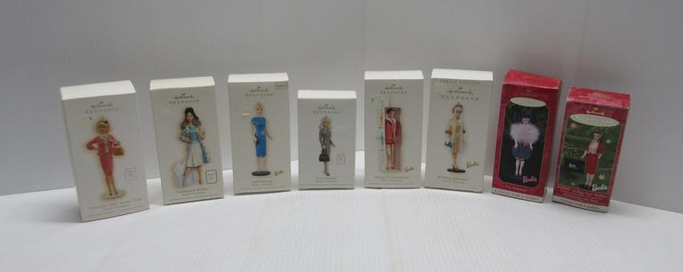 (8) Hallmark Keepsake Collection Pieces, Include: Continental Holiday, 2006; Club Meeting, 2007; Tweed Indeed, 2011; Preferable Pink, 2008; Barbie in Busy Gall, 2000; Gay Parisienne, 1998; Evening Splendor, 2005; and Barbie's Boyfriend Ken, 2009
