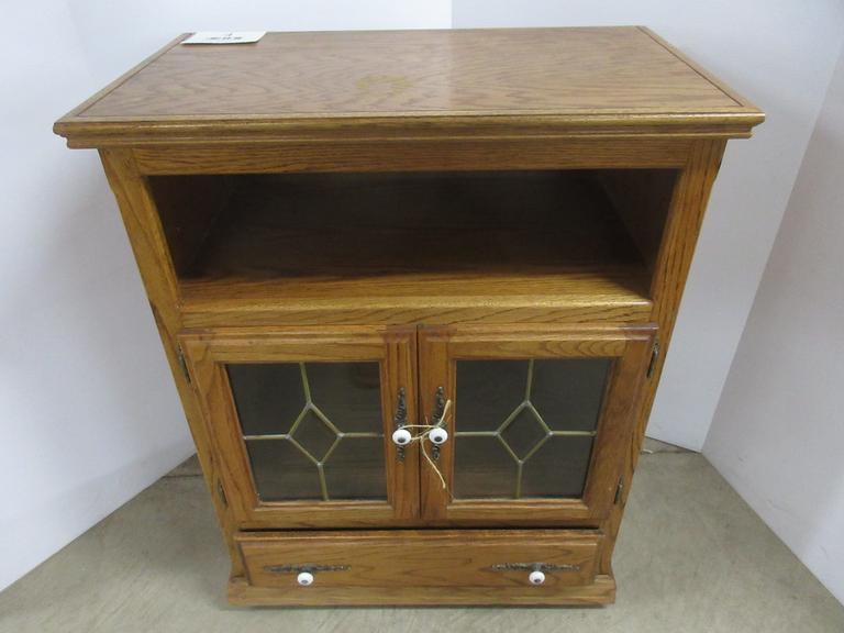 Solid Oak Cabinet on Casters with Two Doors and One Drawer