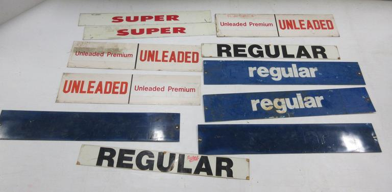 (11) Gas Pump Insert Signs, Include: Regular, Super, Unleaded, and More