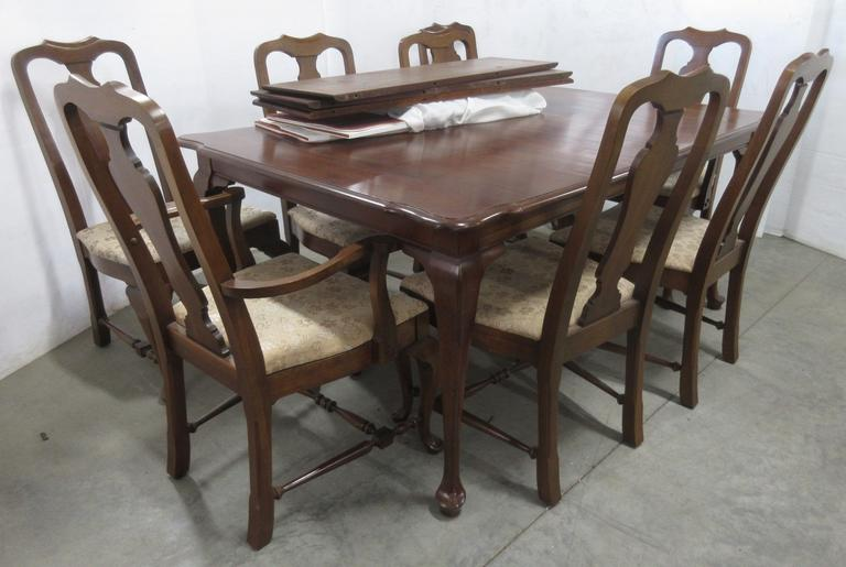 Older Queen Anne Dining Table with (3) Leaves, Table Cover, and (8) Chairs