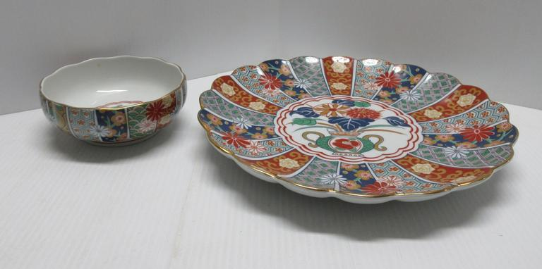 "Unique Oriental Scalloped Large Dish (12""Dia) with Matching Small Scalloped Dish (6""Dia), Could be Used for Chips and Dip or Used Separately"