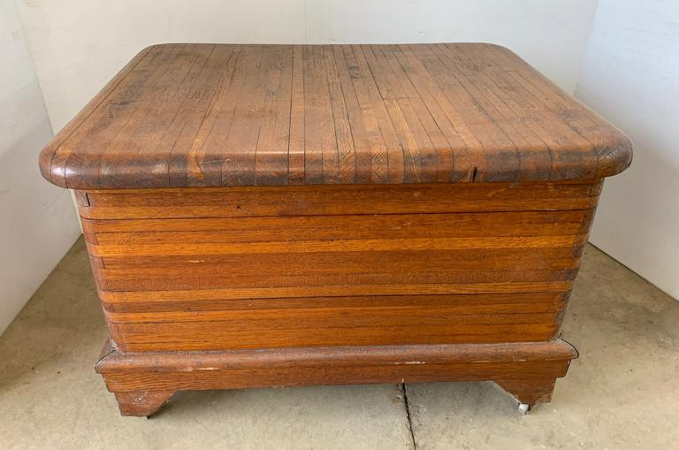 Antique Hardwood Dovetail Storage Box with Brass Hinged Lid, Dark Oak and White Oak Lined Stripes, Matches Lot No. 19
