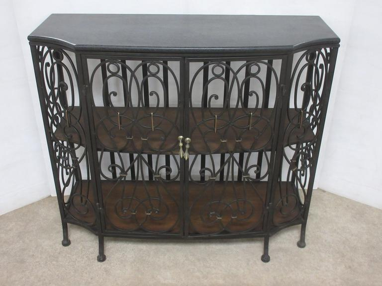 Wrought Iron Dry Bar with Two Shelves