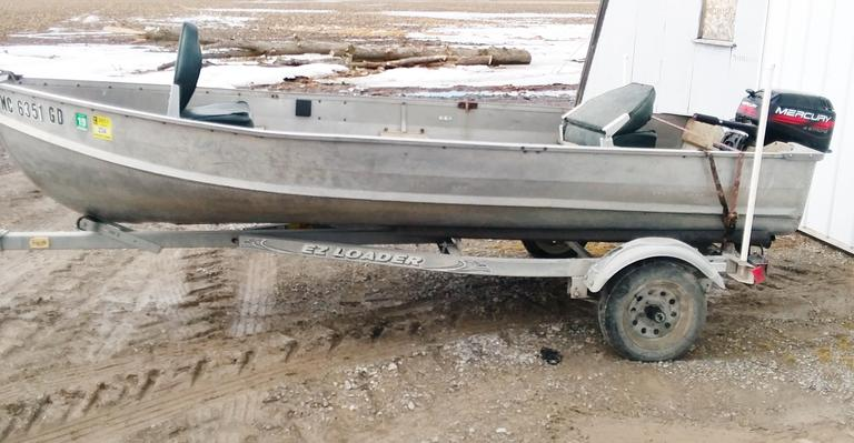 14' Deep V Aluminum Boat on 2006 Yacht Club Trailer with 2012 Mercury 9.9 HP Four-Stroke Engine.  Comes with Two Seats, Paddles, and Anchor.  Trailer Comes with Registration.