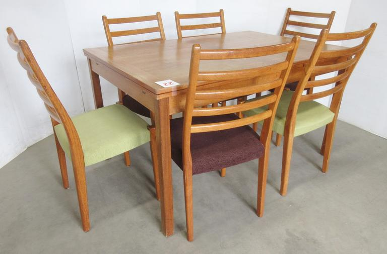Old Ansager Table, Made in Denmark, with (6) Svegards Up Markaryd Teak Dining Chairs, Made in Sweden