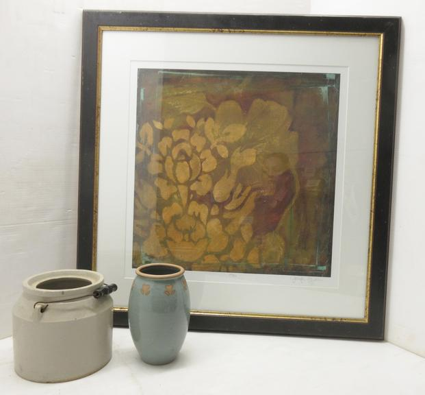 "Framed Picture, 32"" x 32""; Decorative Vase; Older Crock"