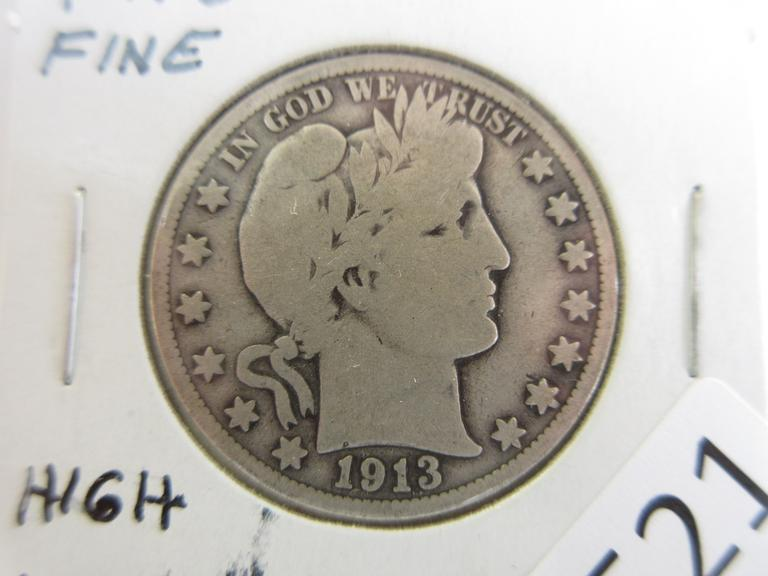 1913 Barber Half Dollar, Seller States High Value