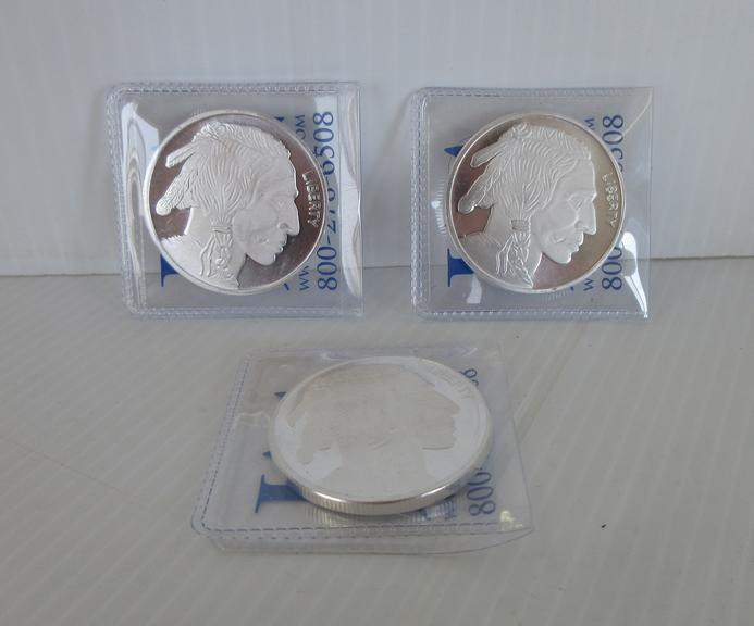 (3) 1 oz. .999 Fine Silver Buffalo/Indian Head Rounds