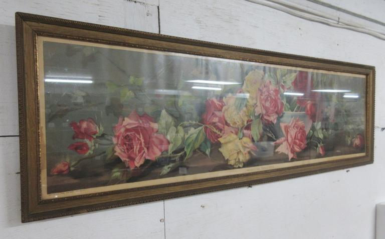 Old Yard Long Picture Yard of Roses in Wood Frame