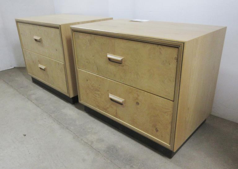 (2) Nightstands with Two Drawers and Tiger Maple Fronts, Henredon Maker