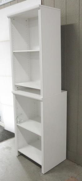 Four-Shelf White Organizer, Can be Separated Into Two Free Standing Units, Hardware for Attaching to Wall is Included