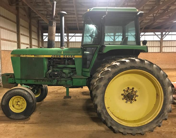 1980 John Deere 4440 Tractor, (9992.8 Hours), 8-Speed Powershift, 3-Hydraulic Remotes with Power Beyond on #1 Remote, (6) Front Suitcase Weights, Comes with a Sensor-1 GPS Speed Sensor for a John Deere Computer Trak 250 Planter Monitor, Tires are 320/90R46, Set Up for 30 Rows, Lights were Replaced with LED Lights, Starts Excellent, Burns No Oil; Air, Heater and Radio all Work Great