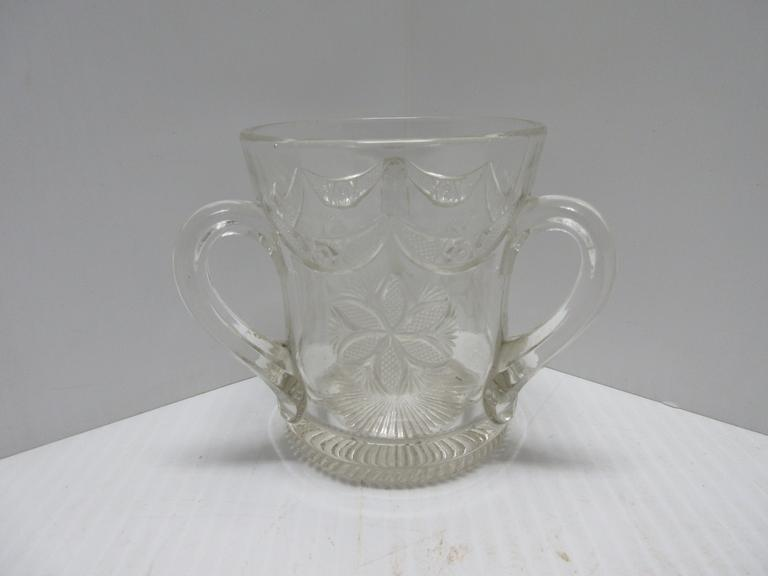 Older Three-Handle Pressed Glass Mug, Possibly a Wedding Mug