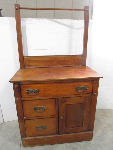 Antique Oak Commode Washstand with Towel Rod, Original Hardware