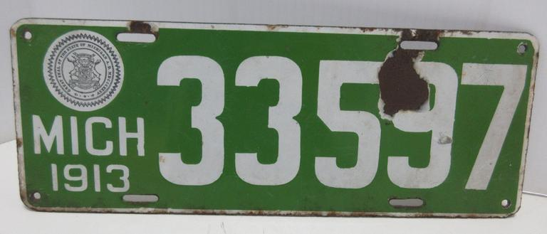 1913 Porcelain Michigan License Plate