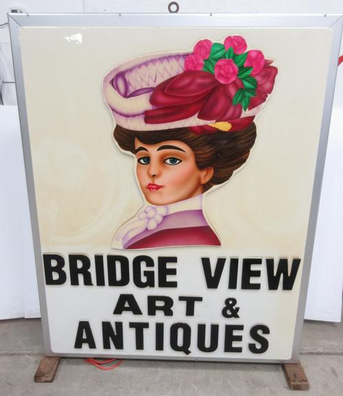 Bridgeview Art and Antiques Sign, Can Plug In or Hard Wire, Double-Sided