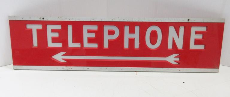 Telephone Topper Sign, Red and Silver, Two-Sided