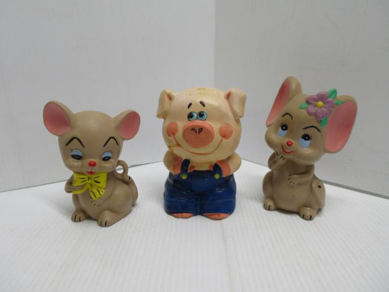 Pair of 1970s Hand Painted Ceramic Bisque Mice Figurines and Enesco Japan Hand Painted Pig Piggy Bank