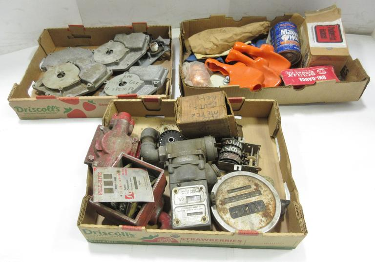 (3) Boxes of Older Gas Pump Components, Inclue: Tokheim; Veedor Root; Gilbarco; Includes Some Parts in Factory Sealed Bags; Three-Wheel Fuel Meter from Before Gas was Over $1.00/Gallon, NOS, Excellent