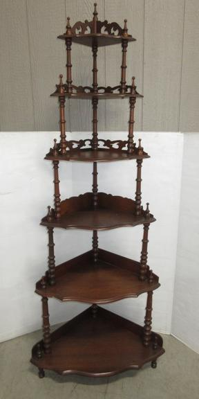 Older Six-Tier Corner Shelf Display Stand with Victorian Spindle Style