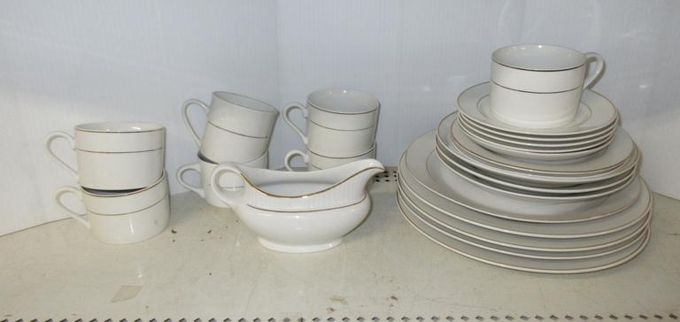 """Dressy"" Gibson Dishes, White with Gold Bands, Include: (4) Plates, Serving Plate, (3) Soup Bowls, (6) Dessert Plates, (7) Cups, and a Gravy Boat"