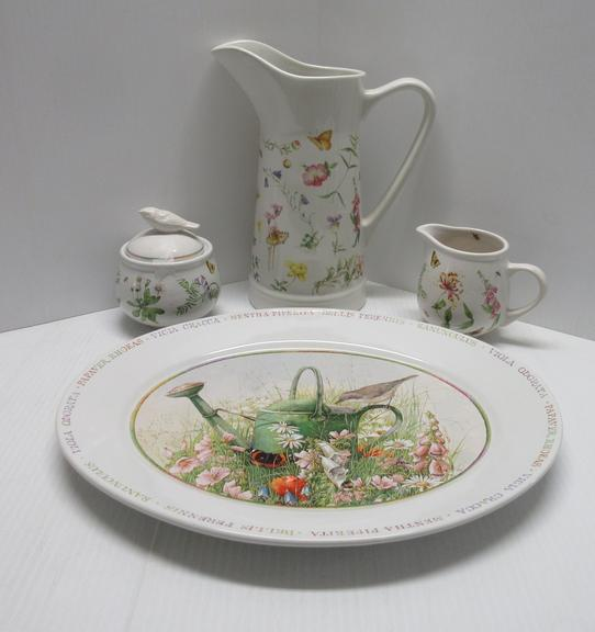 "Five-Piece Hallmark Dish Set, Wildflower Meadow by Marjadein Boselin, Includes: 14"" Serving Dish, 10"" Pitcher, and a Sugar and Creamer with Bird Cover, Butterfly and Flowers Design"