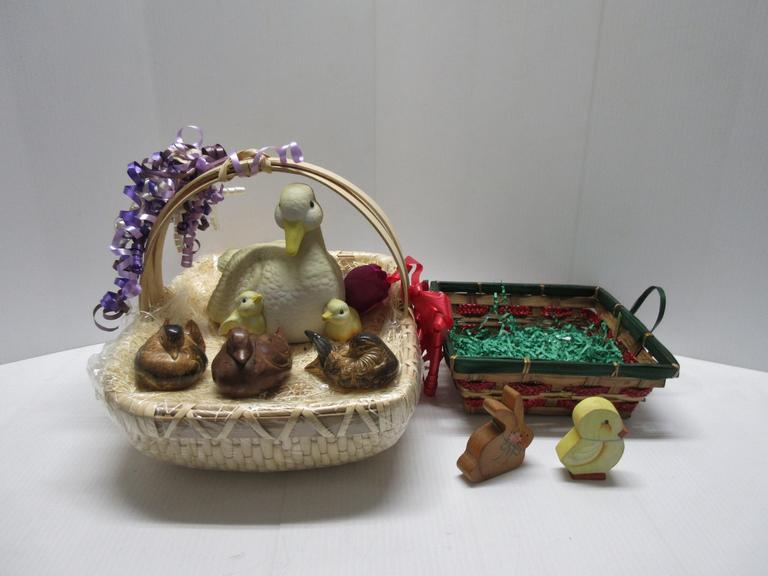 "(2) Easter Baskets with Straw-Like Filler, 17""W x 12""D and 9""W x 9""D; Large Basket has Mother Duck and Fabric, 9 1/2""W x 7 1/2""H; (2) Doves and Wood Duck, 3"" and 4""W"