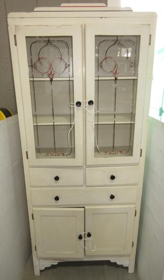 1940 Era Cabinet with Two Glass Doors, Three Shelves on Top, Three Drawers and Two Doors on Bottom, All Original Paint and Hardware