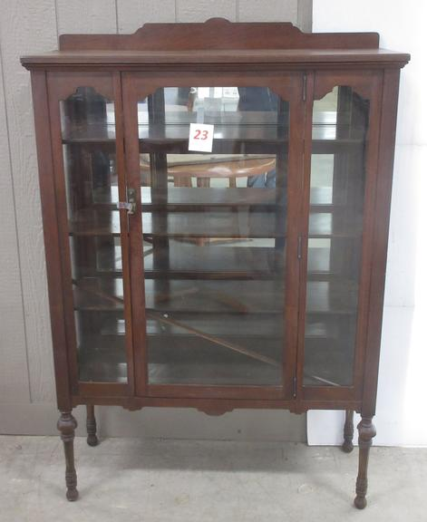 China Cabinet with Glass Front and Ends, Glass Back Inside is Mirrored Behind Shelves