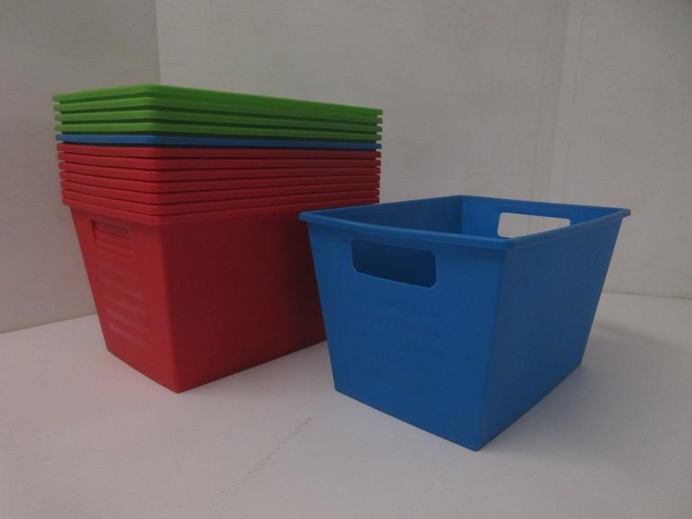 (13)-Nesting Plastic Totes with Side Handle Cutouts