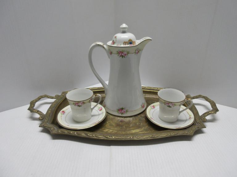 Hand Painted Nippon Tea Set, Chocolate Pot, Set of Six, Includes: Pot and Lid with Two Tea Cups and Saucers, Includes a Brass Serving Tray