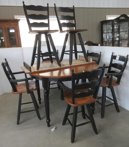 Art Sample/Ashley Furniture High Top Dining Table with Leaf and (7) Matching High Chairs/Bar Stools: 4- With Arms, and 3- Without Arms