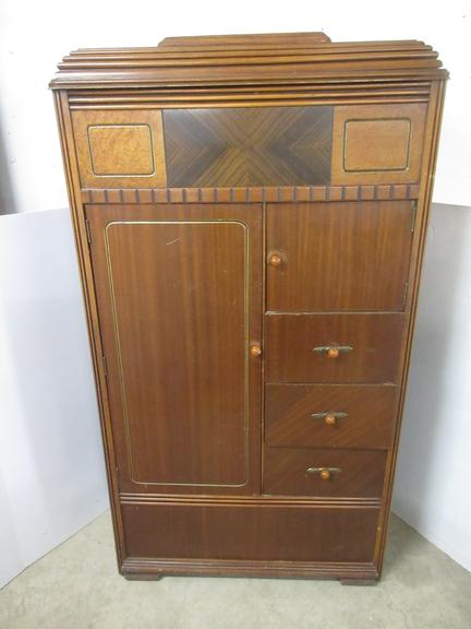 Antique Wardrobe Closet with Bakelite Knobs and All Original Hardware, Cedar Lined