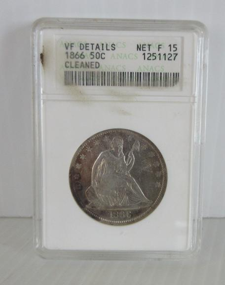 1866 Seated Half Dollar in Plastic