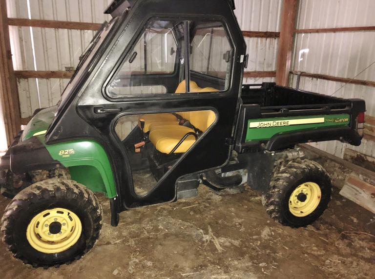 2012 John Deere 825i 4x4 Gator, (1480 Hours), 3 Cylinder Gas, New Tires & Battery, Curtis Cab with Heat, Dump Box, Excellent Condition, Clean and Clear Title