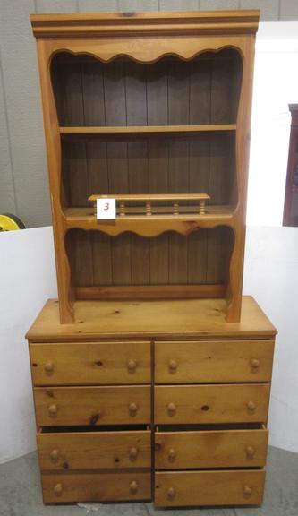 Older Two-Piece Chest of Drawers with Upper Bookshelf