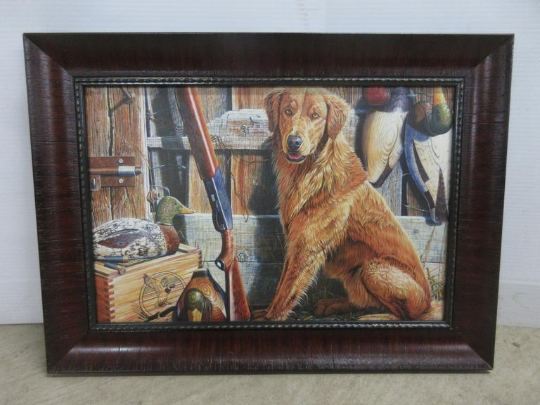 Canvas Picture in Frame of Retriever, Decoys, and Shotgun