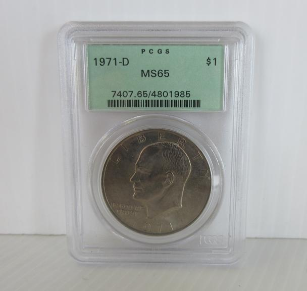 1971-D Eisenhower Dollar Coin, Certified MS65 by PCGS