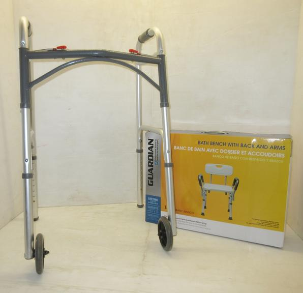 Drive Walker, Slightly Used; Guardian Bath Bench with Arms, Unused