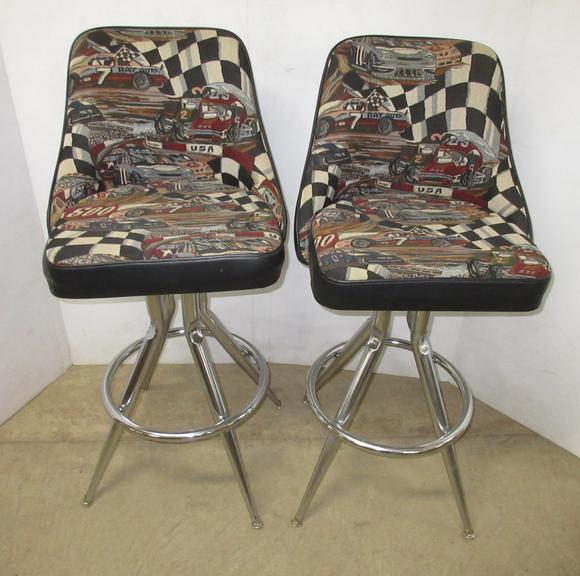 (2) Commercial NASCAR Themed Bar Stools