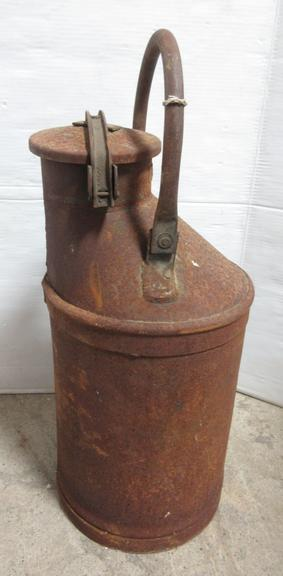Oil Container Flip-Top with Unique Lock-Down Handle, Five Gallons to Point