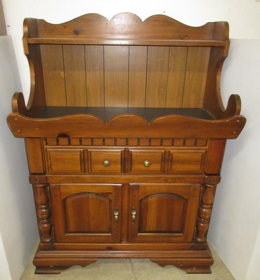 Wooden Hutch with Long Drawer and Two Doors on Bottom