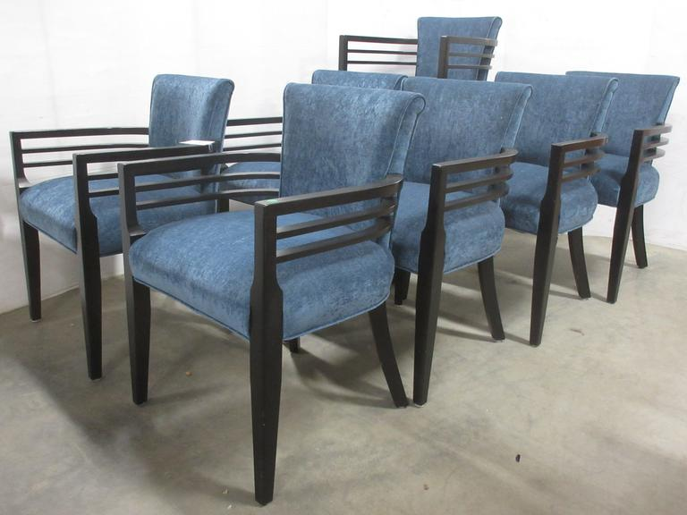 Set of (6) Dining Chairs with Matching Bar Stool, Art Deco Style with Blue Upholstery Including Upscale Welting and Black Wooden Arms, Seller States Similar in Style to Dining Chairs at Dow House in Midland, MI