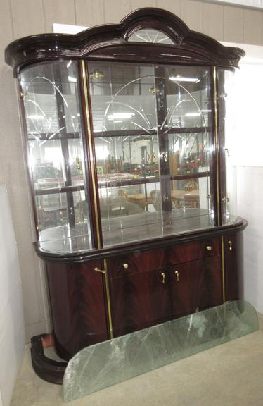 ESF Furniture Milady China Cabinet/Hutch, Made in Italy, Has a High Gloss Lacquer Finish, Seller States MSRP of Over $2,500.00, Matches Lot No. 4